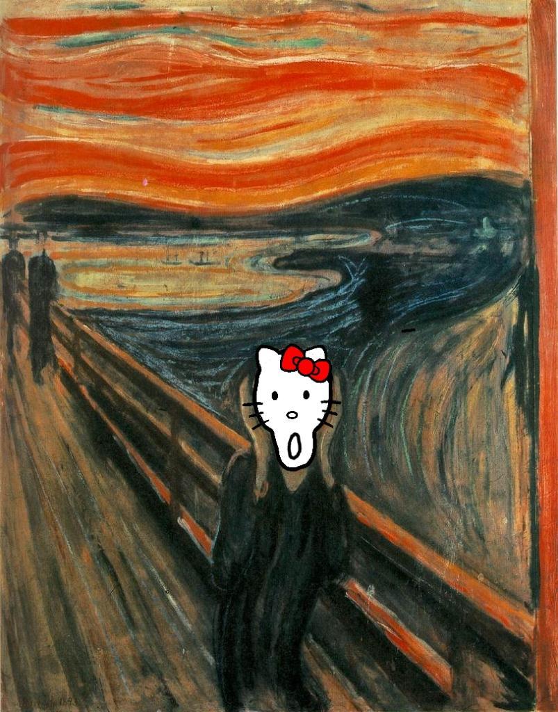 "Hello Kitty som Munch's ""Skriet"""