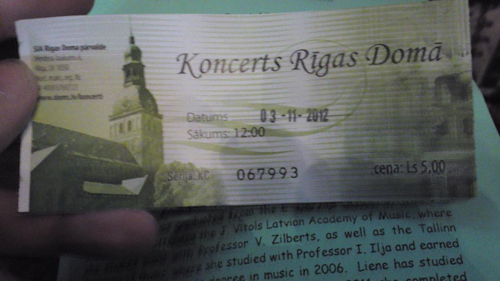 Konsertbiljett, Orgelkonsert Domkyrkan i Riga