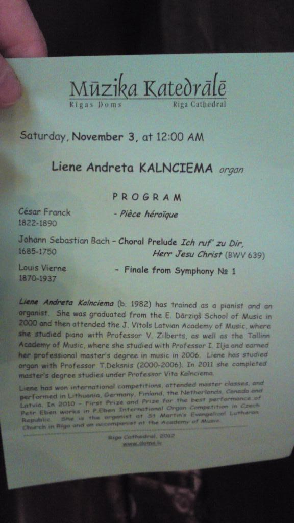 Orgelkonsert med Liene Andreta Kalnciema - Domkyrkan i Riga