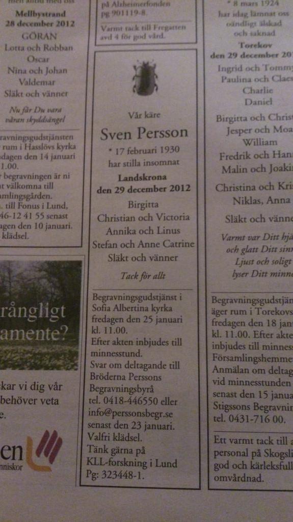 Dödsannons, Sven Persson