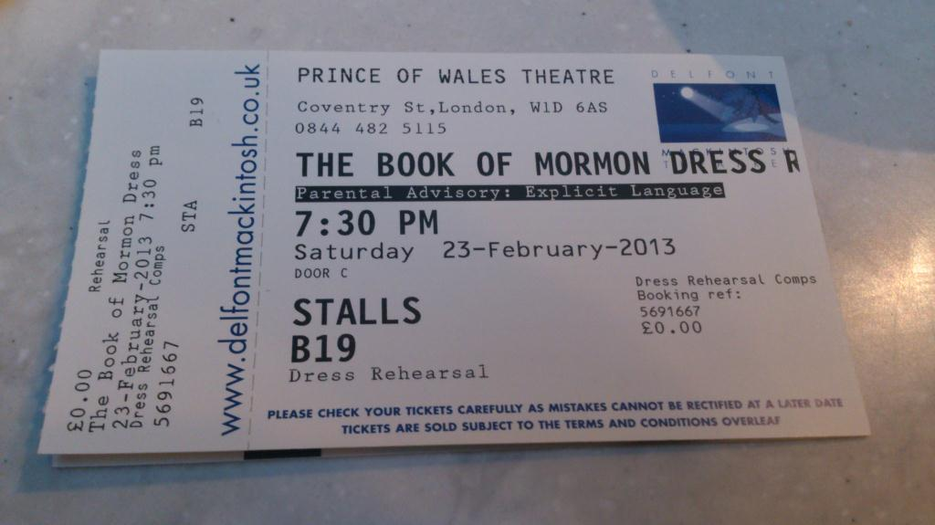 Ticket The Book of Mormon - London