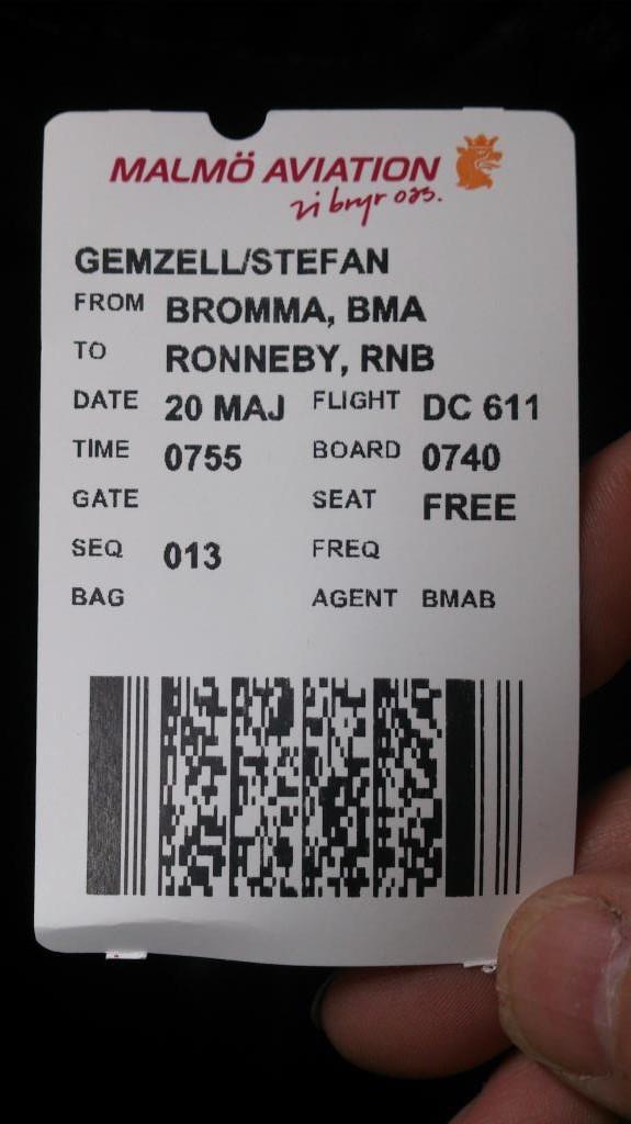 Flygbiljett, Bromma - Ronneby