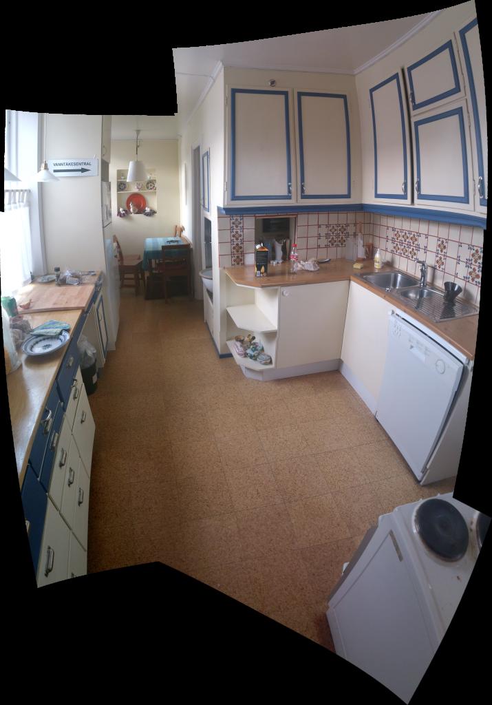 Sammanfogad bild av köket