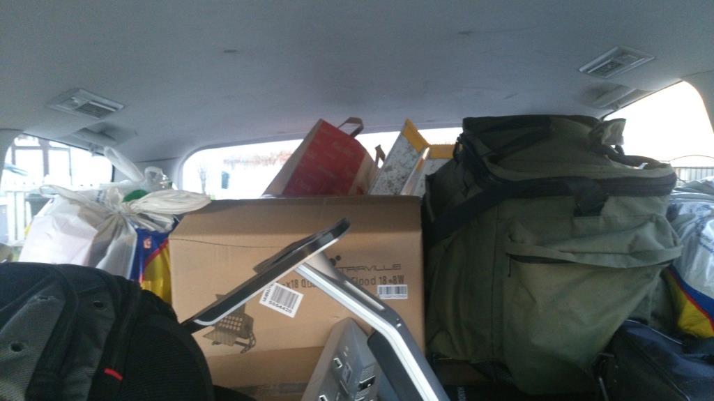 Bilen packad, redo för avfärd till Haparanda