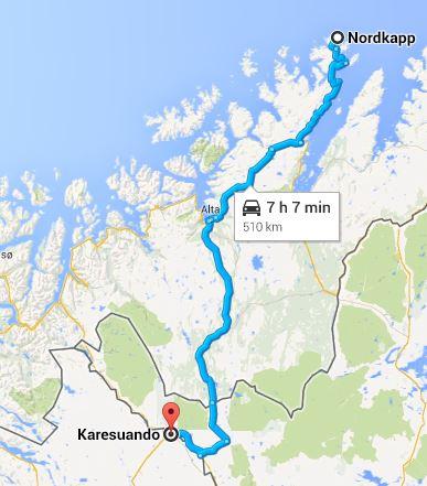 Karta Nordkap till Karesuando