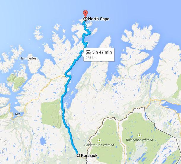 Karta Karasjok till Nordkap