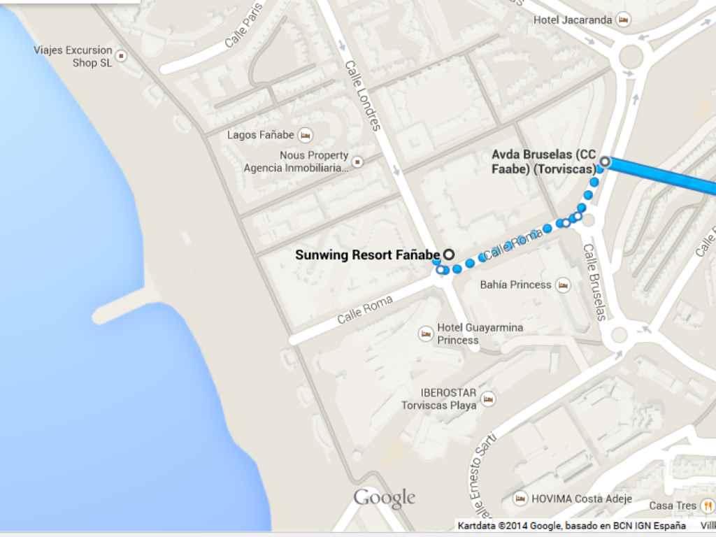 Promenad till köpcentret, därifrån går bussarna