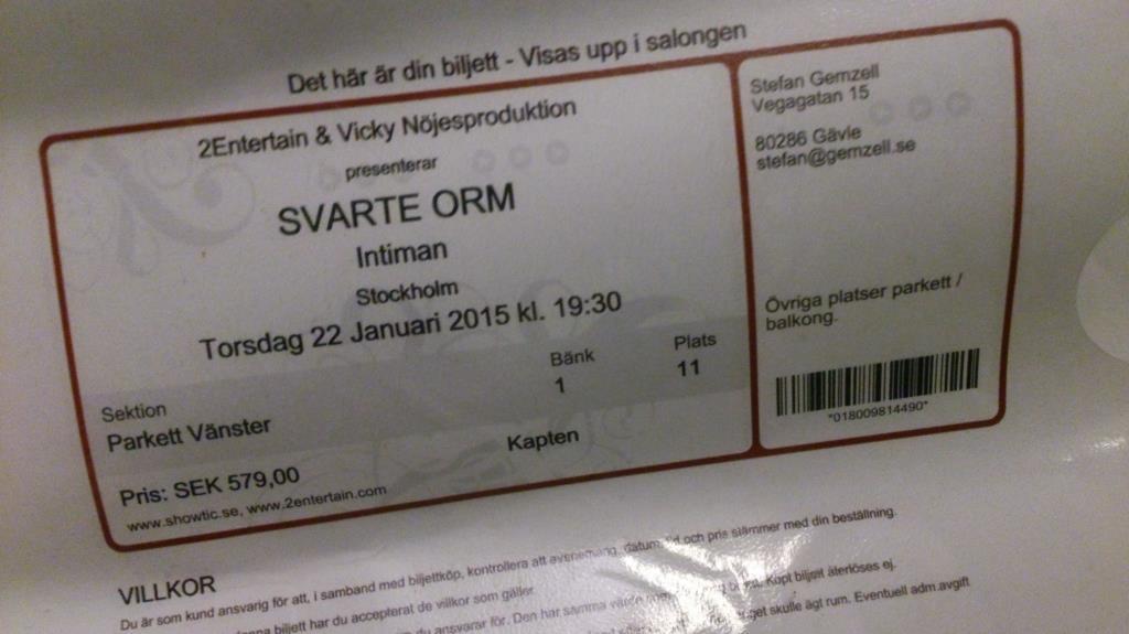 Biljetter Svarte Orm / Blackadder Intiman, Stockholm